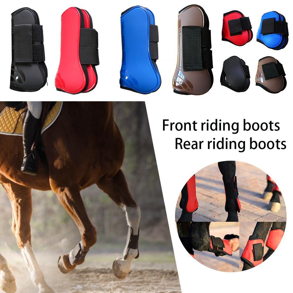 4 PCS Front Hind Leg Boots Adjustable Horse Leg Boots Equine Front Hind Leg Guard Equestrian Tendon Protection Horse Hock Brace4