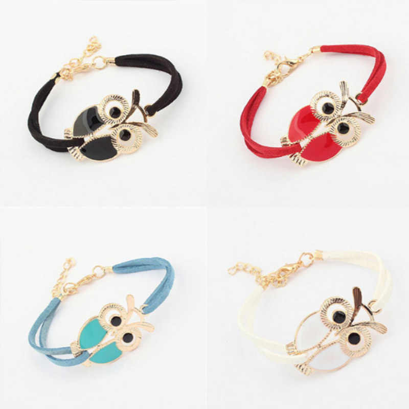 Lobster Handmade Leather Bracelets Women Vintage Lovely Owl Jewelry Braided Rope Wristband Stretch Bangles 6A0026