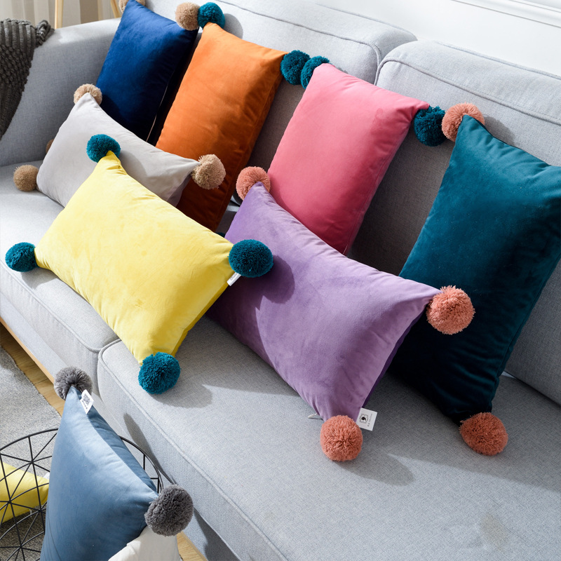 <font><b>30x50</b></font> cm Fashion Office <font><b>Pillow</b></font> <font><b>Case</b></font> With Lovely Ball Top 8 Colors Throw Cushion Home Office Decorative <font><b>Pillow</b></font> <font><b>Cases</b></font> Covers image