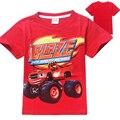 Детская одежда 2016 новый хлопка с коротким рукавом мальчиков футболки Blaze И Чудовище Мультфильм майка patterm дети мальчики Одежда