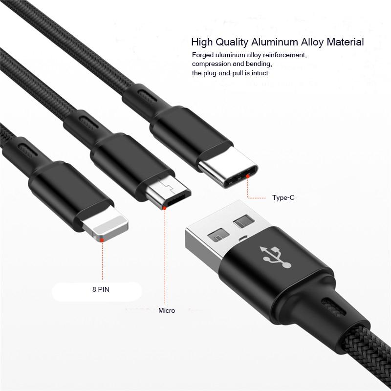 Image 2 - Usb кабель зарядное устройство 3 в 1 Micro USB кабель для samsung S9 для iPhone XS X 8 7 6 для Android USB TypeC зарядное устройство Шнур-in Кабель для MP3-/MP4-плееров from Бытовая электроника