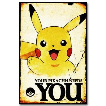 Аниме плакат гобелен шелковый Пикачу