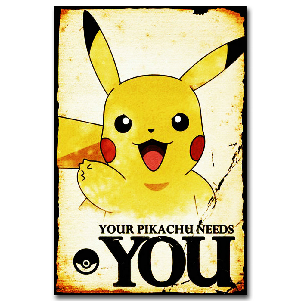 Pokemon Anime Game Art Silk Fabric Poster Print 12x18 20x30 Inches Pocket Monster Pikachu Wall Picture