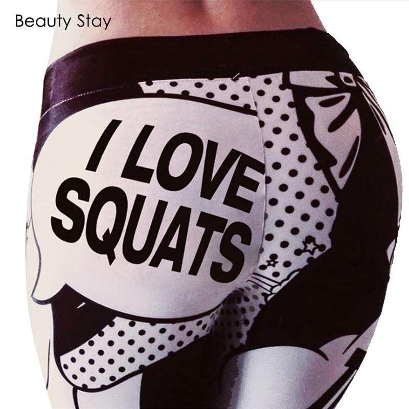 Beauty Stay I LOVE SQUATS Letter Print Women   Leggings   Workout High Elastic Push Up Punk Rock Skinny Comic Funny Slim Girl Pants