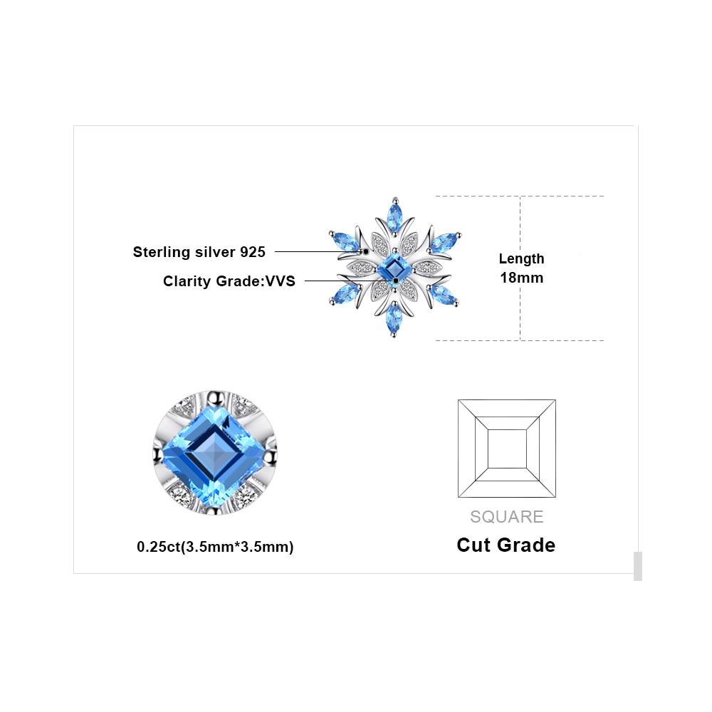 Image 5 - JPalace Snowflake Natural Topaz Pendant Necklace 925 Sterling  Silver Gemstones Choker Statement Necklace Women Without Chainpendant  blue topazchain pendantchain women