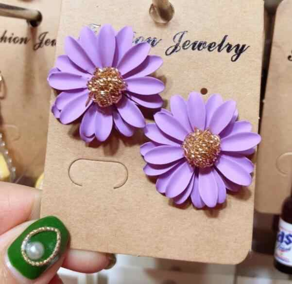 2019 New Korean Cute Metal Flower Stud Earrings For Women Girl Fashion Big Sweet Earring Summer Daisy Jewelry Femme Brincos