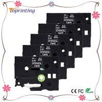 5 갑 STE151 블랙 스탬프 스텐실 카세트 테이프 24 미리메터 x 3 메터 (STE-151 ST151 ST-151 테이프) 형제 P 터치 PT 프린