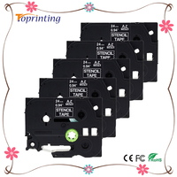 5 Pacote STE151 Preto Stamp Stencil Cassette Tape 24mm x 3 m (STE-151 ST151 ST-151 Fita) para Impressoras Brother P-toque PT