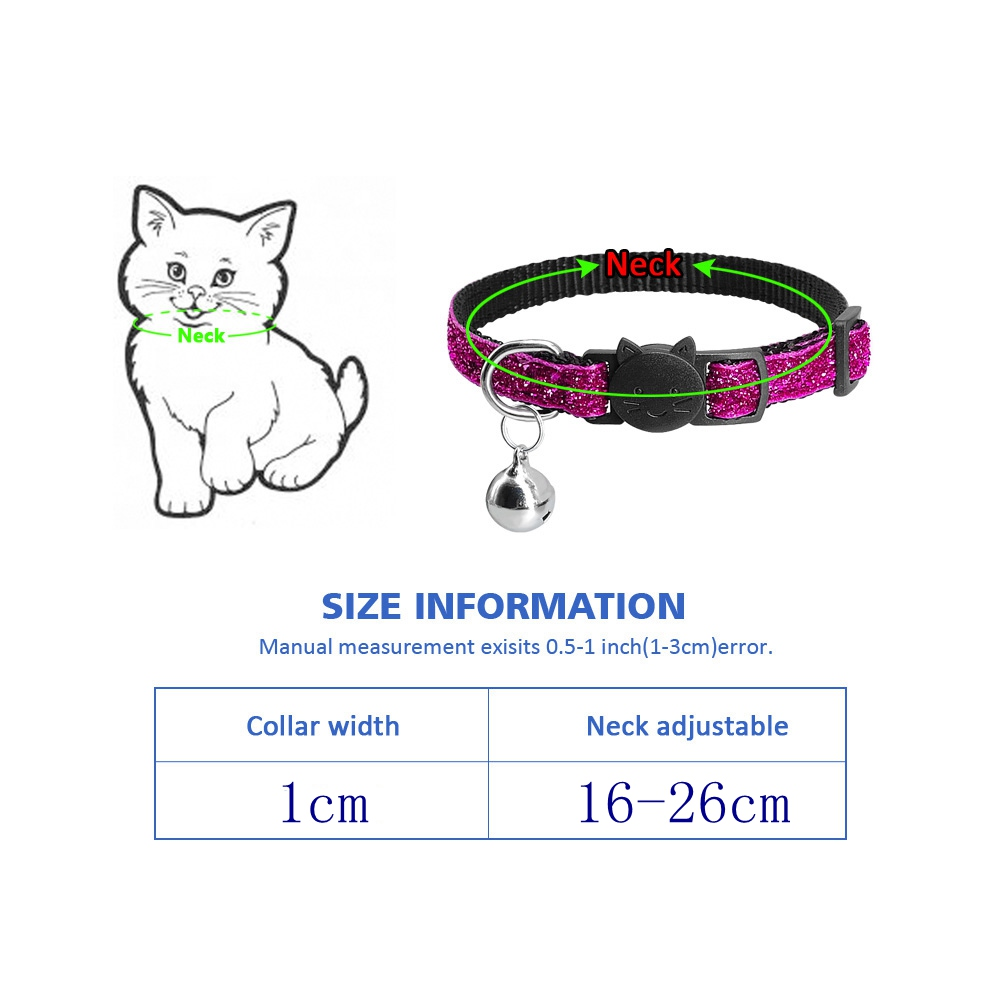 Cat Collar With Bell Dog Collar For Cats Solid Braid Kittens Pet Cat Collars Shiny Adjustable Collars For Cats Pet Lead Supplies #6