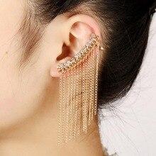 afff8c918297 Joyería Punk mujeres cristal oreja brazalete cadena moda oro plateado  circonita borla larga pedrería Clip pendiente para mujeres.
