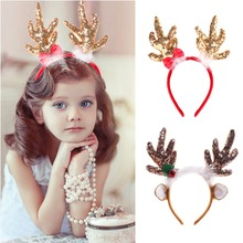 OurWarm Reindeer Christmas Headbands Deer Horns Head Adornment Decorations on the Hair Accessories