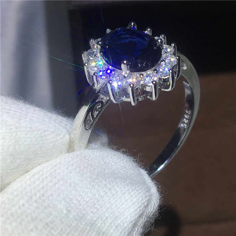 Vecalon, хорошее ювелирное изделие, 100% Настоящее 925 пробы, серебряное кольцо, 5А, голубой циркон, Cz, Диана, обручальное кольцо, кольца для женщин, для невесты