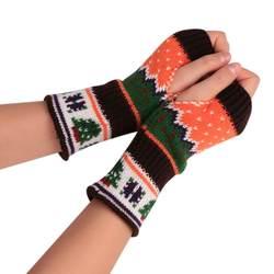 Рождественские перчатки с рисунком женские модные унисекс теплые перчатки без пальцев женские зимние вязаные перчатки девочки Ганц Femme # YL