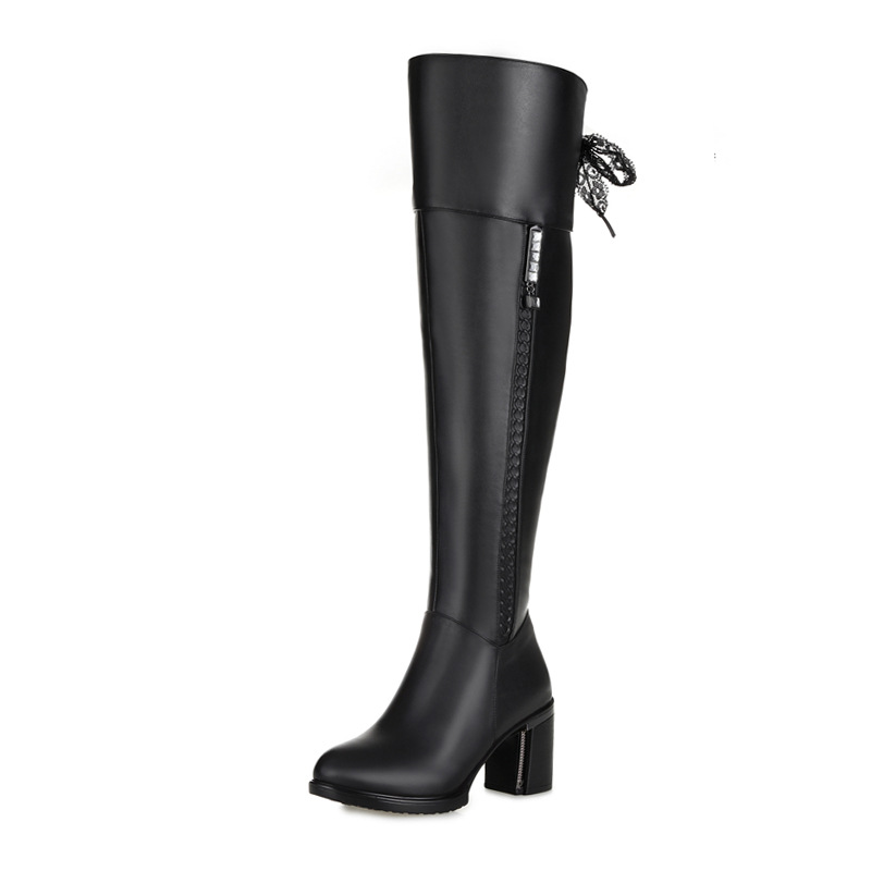 Winter Genuine Leather Riding Boots Flat Heel Fashion Women knee high zip boots Black womens boots big size winter shoes rubber cement euro winter shoes woman sleeve side zip chains riding genuine leather boots women solid color cowhide flat with