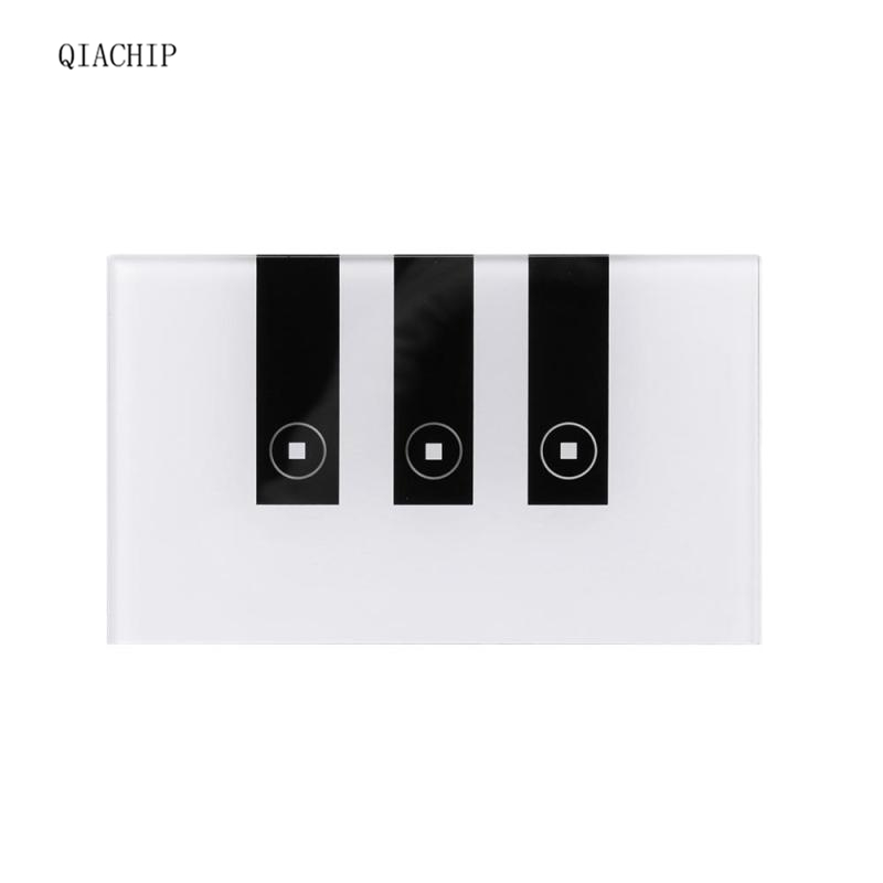QIACHIP WiFi Smart Switch 3CH Wall Switch US Plug Touch Panel Wi- Fi Wireless Remote Control Light Switch Via APP for Smart Home wifi smart switch 2ch wall crystal tempered glass touch panel remote control light switch for ios android smartphone us plug