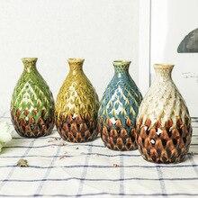 Ceramic Vase Flower Pot Pineapple Shape Table Creative Handmade Porcelain  Home Decoration E