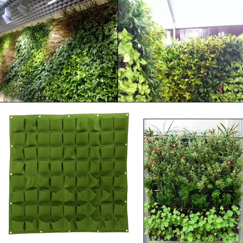 Large Garden Pots Us 24 78 18 Off 72 Pocket Plant Pot Vertical Garden Hanging Green Wall Planters Large Garden Pots For Balconies Hanging Felt Planter Bags In Flower