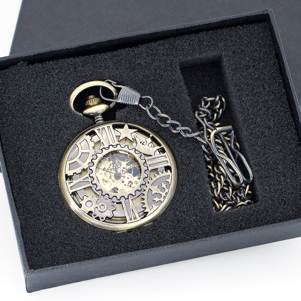 New Bronze Machine Wheel Gear Mechanical Pocket Watches Roman Skeleton Dial Pocket&Fob Watches Best Gift for Men Women PJX1343