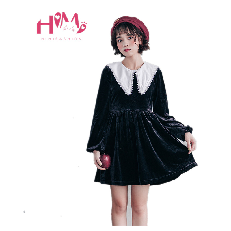 Japanese Harajuku Velvet Dress Women Gothic Cute Girl Little Black Dress Cosplay Party Lolita Kawaii Sailor Long Sleeve Dress Платье