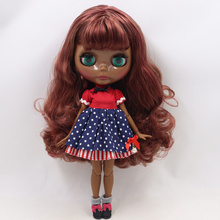 ICY Neo Blythe Doll Brown Burgundy Hair Jointed Body 30cm