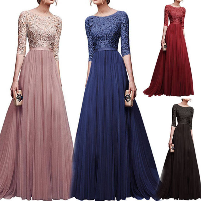 2019 autumn and winter European and American ladies evening dresses Five-point sleeve high waist lace chiffon women's dress(China)