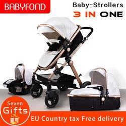 Couro do plutônio da liga de alumínio quadro babe babyfond alta paisagem dobrar carrinho de bebê 3 em 1 quatro rodas carrinho de bebê padrão da ue