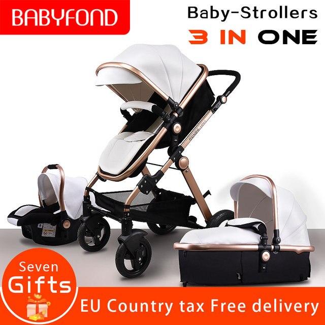 Pu leather aluminum alloy frame  bebe Babyfond high landscape fold  trolley 3 in 1 four wheel cart EU standard baby stroller