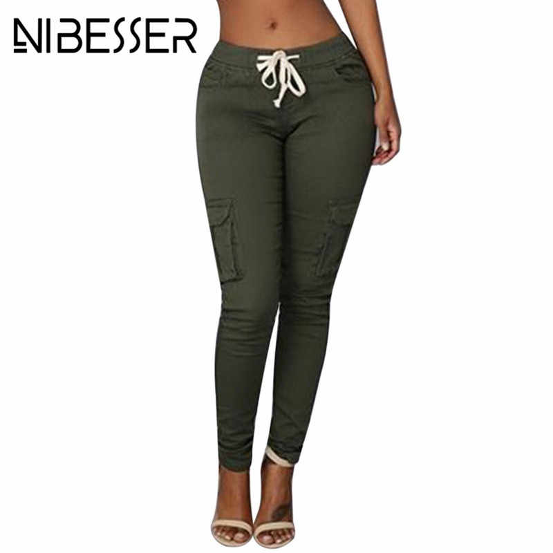 d54908cb8d3 NIBESSER Women Skinny Pants Casual Pocket Design Sweatpants Female Long  Pencil Pants Ladies Drawstring Trousers Plus