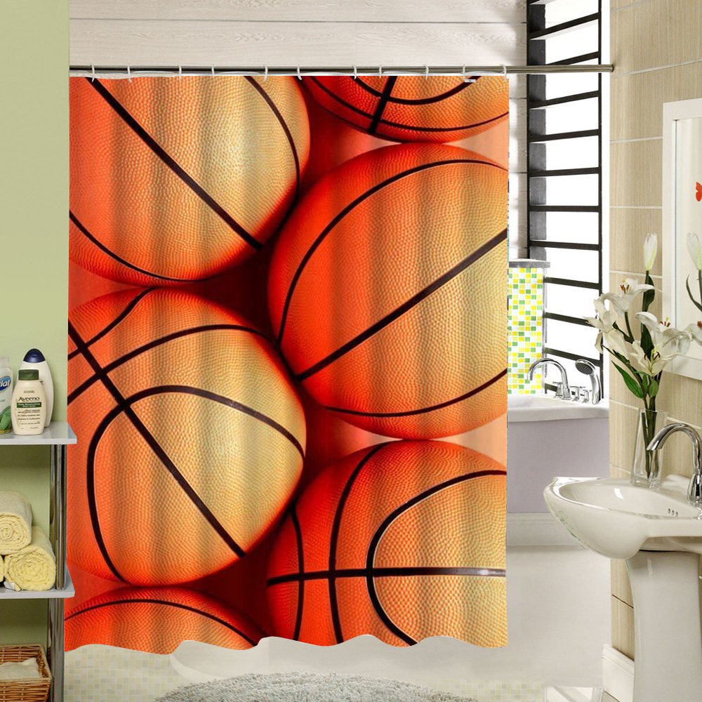 Football Basketball 3d Print Shower Curtain For Sport Fan Bathroom Decor Man Boys Gift In Curtains From Home Garden On Aliexpress