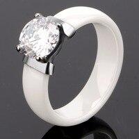Fashion Women Ring 6 Mm Wide X Cross Promise Black White Ceramic Ring For Women Men