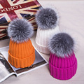 2016 Korean 15 cm ball elastic lady knitted hat winter pompom hat warm hats for women with big ball Fox fur caps