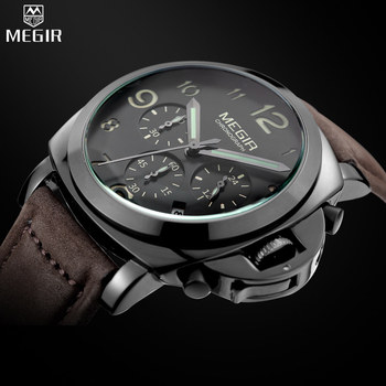 Reloj de marca MEGIR relojes de pulsera de cuarzo lumioso militar de moda para hombre relojes de cronógrafo analógicos casuales para hombre