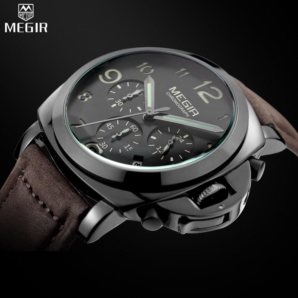 Reloj MEGIR reloj de marca hombre moda militar Lumimous de cuarzo relojes de los hombres analógico de cronógrafo relojes relogios masculinos