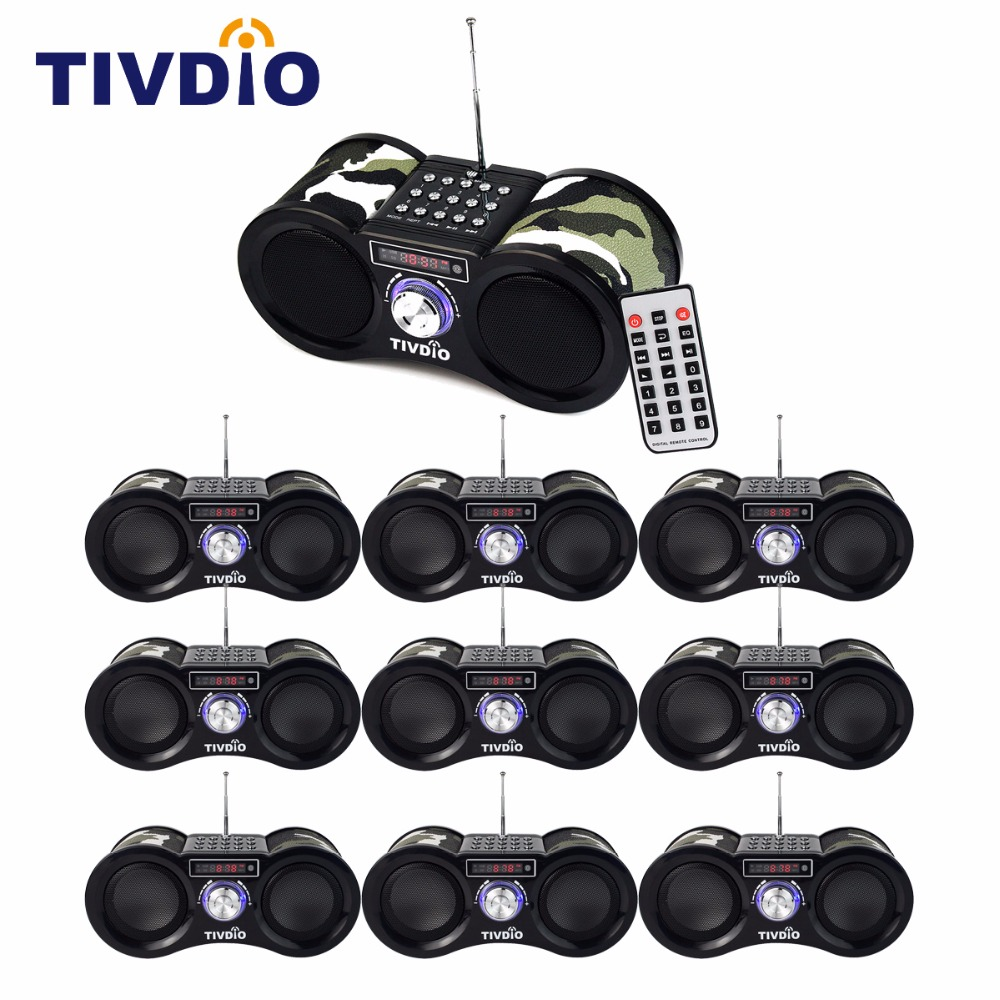 10pcs TIVDIO V-113 Camouflage FM Radio Receiver Digital Speaker USB Disk TF Card MP3 Music Player + Remote Control F9203M rtl2832u r820t usb isdb t digital television receiver black white