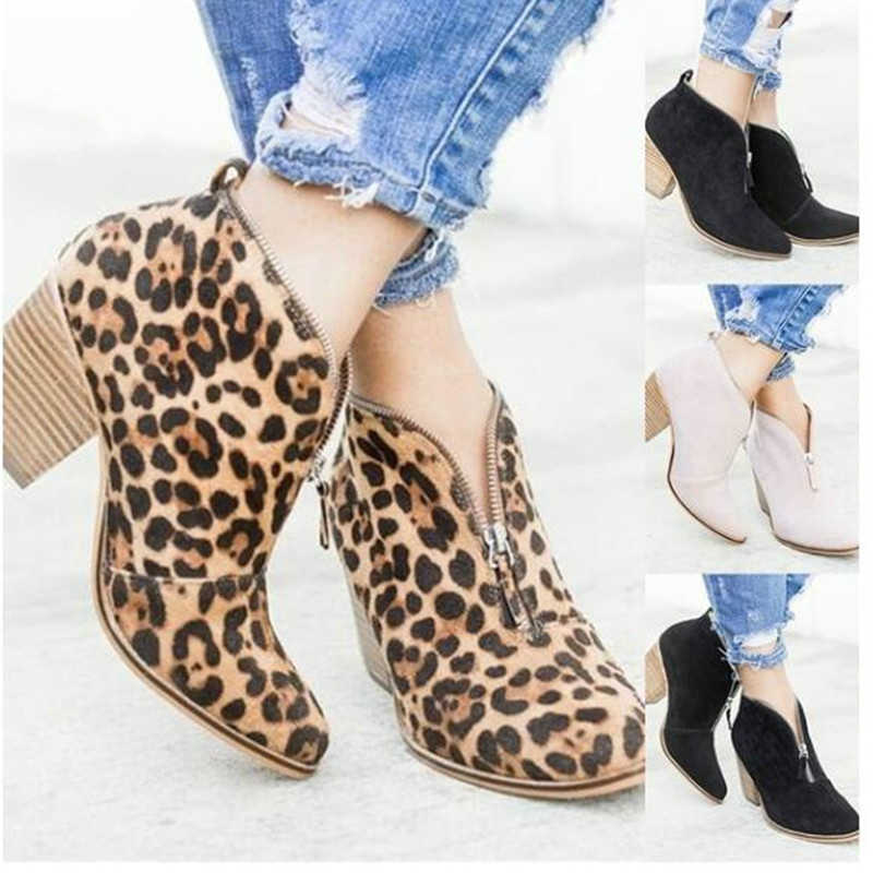 Europe Womens Boots Ankle High-heel Autumn Winter 2018 New Leopard Print Shoes  Woman Martin 9ab28d5762a3