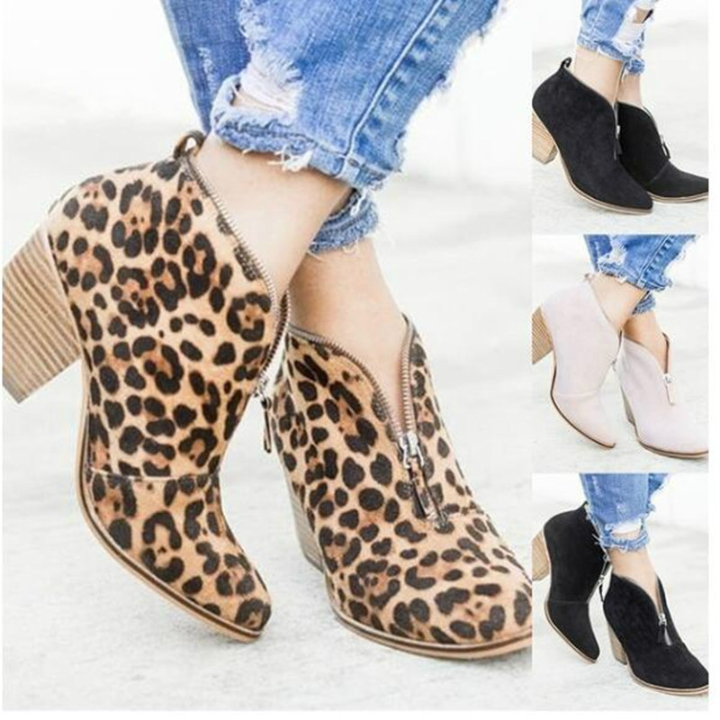 Europe Womens Boots Ankle High-heel Autumn Winter 2018 New Leopard Print Shoes Woman Martin Boots Fashion Zip Point Sexy 35-43