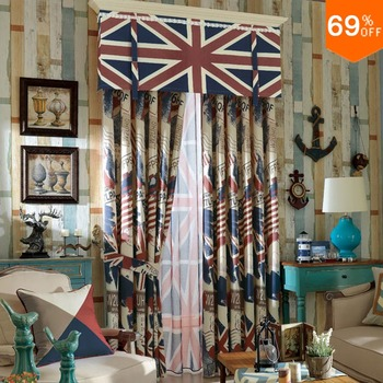 England curtain quality luxury print dodechedron curtain finished curtain for hall window United Kingdom flag collection Hobby