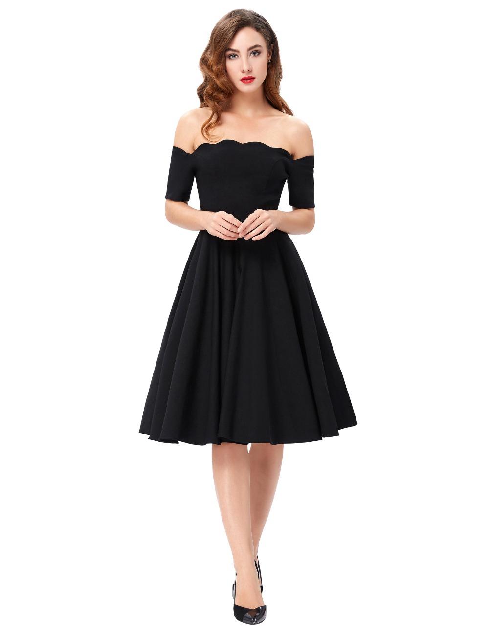 Belle Poque 17 Women Dress Robe Vintage Off Shoulder Black Summer Dress Jurken 1950s 60s Retro Rockabilly Swing Party Dresses 7