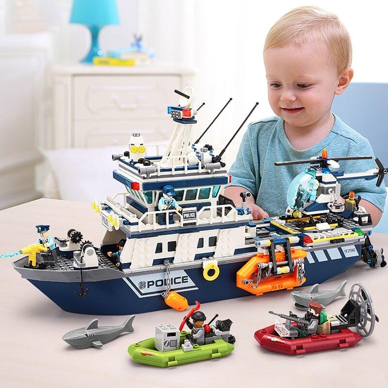 Nouveau 869 pièces ville Police le bateau de patrouille hélicoptère modèle blocs de construction Compatible Legoed ville enfants bateau briques jouet cadeau