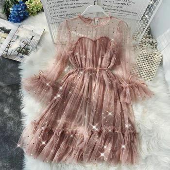2020 Women Summer Flare Sleeve Star Sequined Mesh Gauze Bandage Strap Dress Elegant Elastic Slim Bling Tulle Voile Pleated Dress plus embroidered mesh insert pleated sleeve bardot dress
