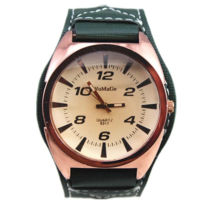 Womage марка мода большой круглой головой военный мужчины наручные часы vintage коричневый лицо точный кварцевый женщины мужчины спортивные наручные часы