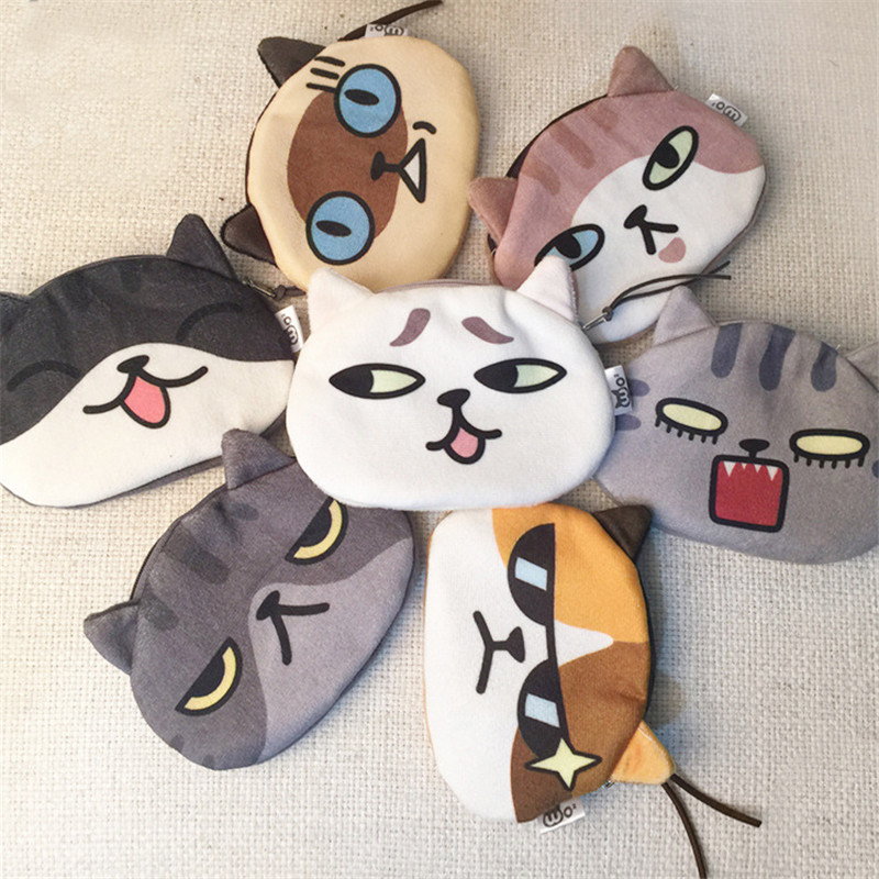 Soft Plush Coin Purse Lady Girl Cartoon Cat Expression Print Mini Wallet Fashion Zipper Change Money Bag Woman Travel Necessity