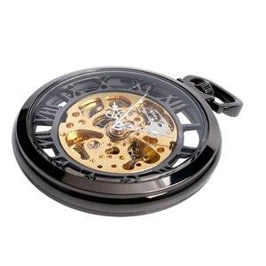 Image 4 - Steampunk negro esqueleto números romanos ver a través del reloj de bolsillo cuerda a mano mecánica reloj Fob con cadena Unisex regalo de Navidad