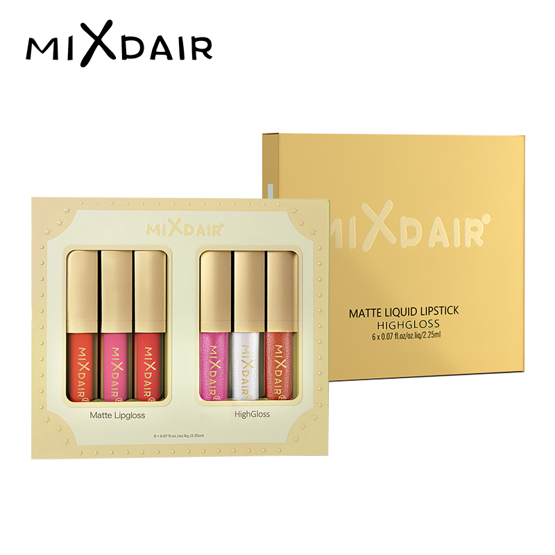 MIXDAIR Matte Feuchtigkeitscreme 6 Farben Lippenstift Wasserdicht Langlebige Lippenstift Rot Lip Gloss Kosmetik Beauty Make Up
