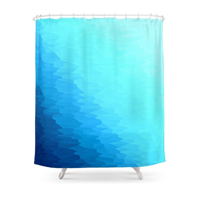 Turquoise Blue Texture Ombre Shower Curtain Set Waterproof