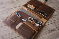 במצוקה חום אמיתי עור תיק iPad Pro 10.5 מקרה 11 iPad פרו שרוול עור 12.9 iPad מכסה אפל עיפרון מחזיק