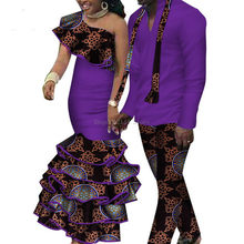 Summer Couple African Clothing Traditional African Clothing For Women Men Bazin Riche Dashiki Women Skirt Set Men's Suits(China)