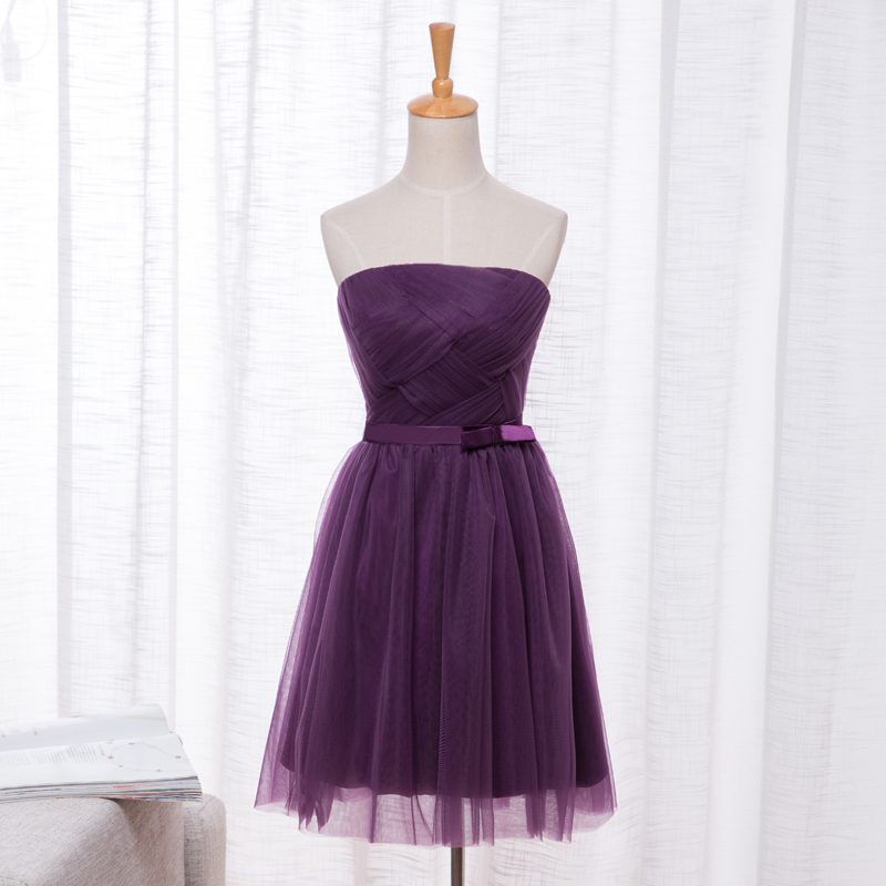 beautiful short bridesmaid dress strapless lace up bridesmaid gown dark purple robe demoiselle d. Black Bedroom Furniture Sets. Home Design Ideas