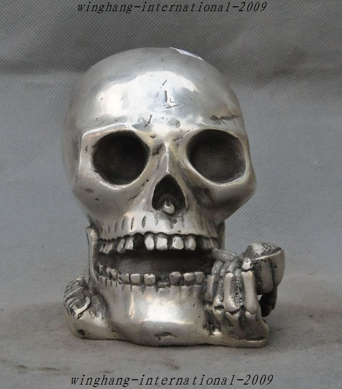 Chinese Silver people Cranium Skull crossbones Ward off evil Ghost Head StatueChinese Silver people Cranium Skull crossbones Ward off evil Ghost Head Statue