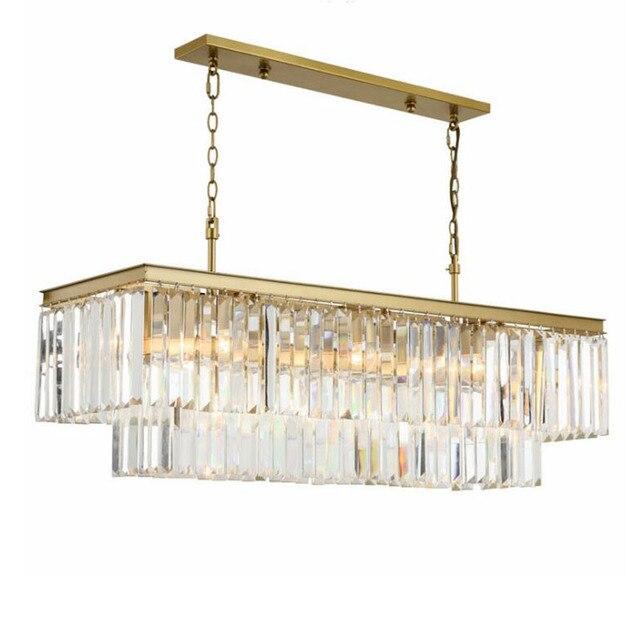 Candelabros cuadrados de cristal dorado para restaurante, comedor, dormitorio, sala de estar, bombillas LED